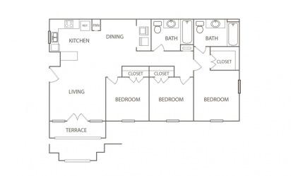 3 bedroom 2 bath 1060 sq.ft.