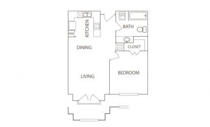 1 bedroom 1 bath 650 sq.ft.