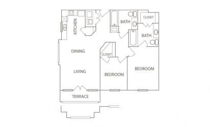2 bedroom 2 bath 949 sq.ft.