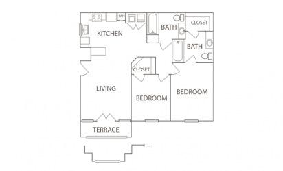 2 bedroom 2 bath 935 sq.ft.